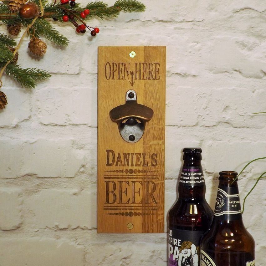 Personalised Beer Cider Bottle Opener, Solid Oak Wall Bottle Opener